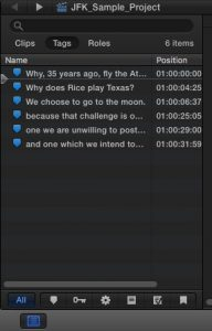 FCPX timeline index